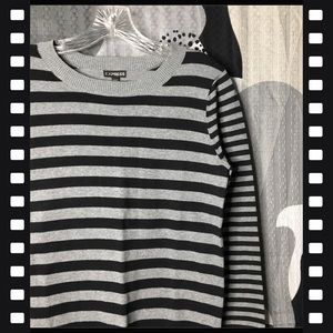Express Sweaters - EXPRESS • Black and Grey Striped Sweater